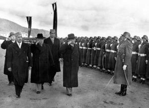 Nikita Khrushchev, Sardar Daud, Afghan honor guard wearing old German uniforms Kabul 1955